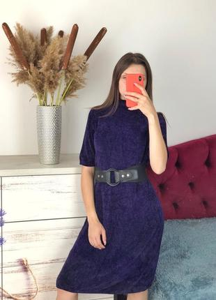 Фиолетовое тёплое платье миди плюш 1+1=3