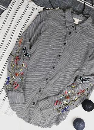 Блуза кофточка рубашка с вышивкой h&m