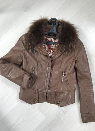 Куртка косуха кожанка куртка кожаная с натуральным мехом короткая куртка