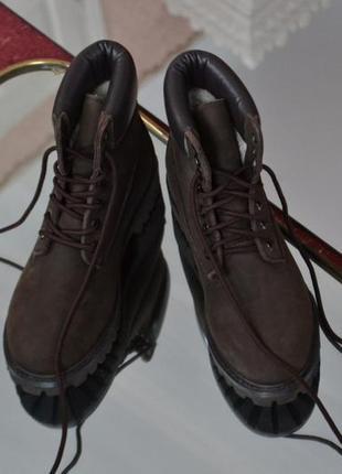 Ботинки тимберленд timberland зимние нубук с мехом утеплённые новые коричневые шоколад