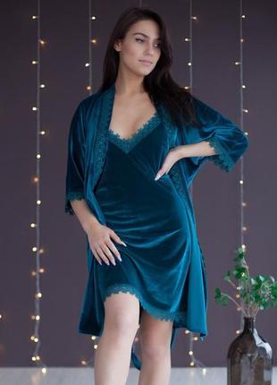 Бархатная изумрудная ночнушка с халатом, нічна сорочка з халатом