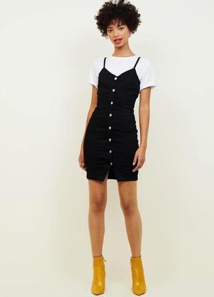 Трендовый джинсовый черно-серый сарафан / платье на пуговицах, casual