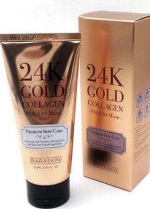 Премиальная маска-пленка raraskin 24k gold collagen peel off mask