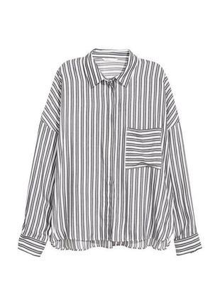 H&m вискозная рубашка в полоску объемного кроя оверсайз, р.38