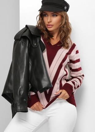 Шикарный теплый стильный джемпер шерсть шерстяной розовый бордовый пудровый в полоску