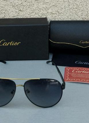 Cartier очки капли мужские солнцезащитные черные с золотом поляризированые