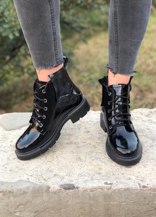 Ботинки натур кожа лаковая3 фото