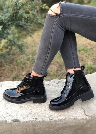 Ботинки натур кожа лаковая4 фото