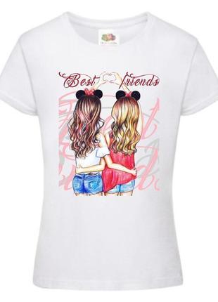 """Парные футболки для подруг с принтом """"best friends"""" push it"""