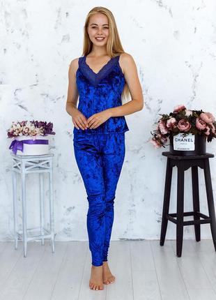 Mito julia 1601 майка брюки пижама комплект мраморный велюр синий с кружевом