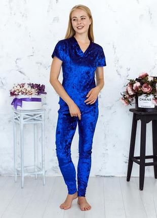 Mito julia 1604 футболка брюки пижама комплект мраморный велюр синий
