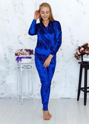 Mito julia 1605 кофта брюки пижама комплект мраморный велюр синий