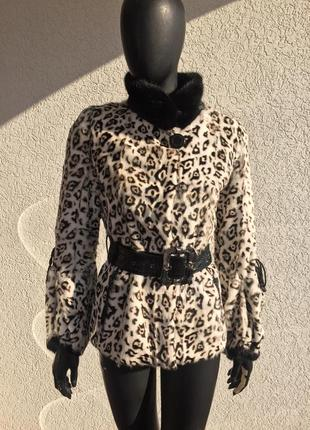 Шикарная норка шуба норковая шуба натуральная принт леопард полушубок