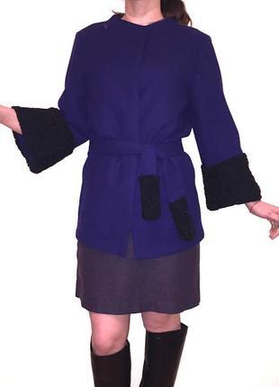 Пальто халат жакет ткань max mara итальянская шерсть кашемир мех каракуль