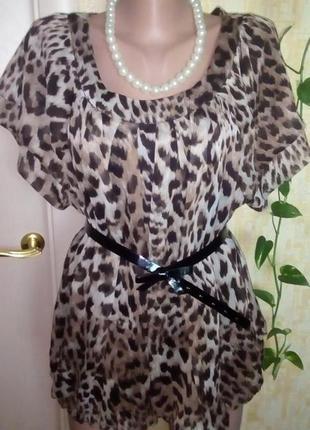 Струящаяся шифоновая блузка леопард/блузка/рубашка/футболка/кофта/майка