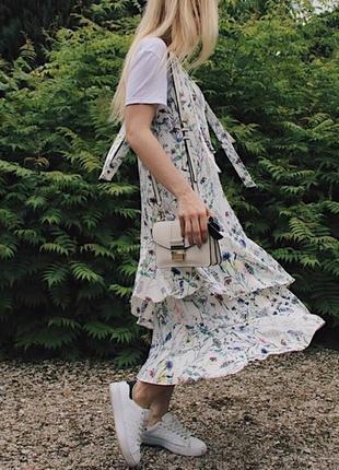 Красивейшее струящееся платье сарафан миди акварель в цветочный принт