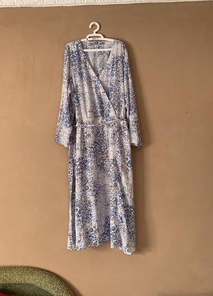 Платье большой размер длинное с рукавом на запах