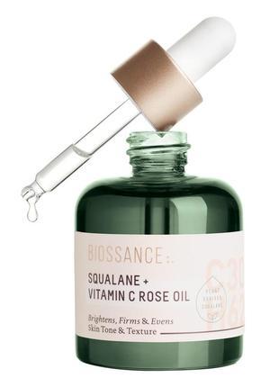 Macло для лица biossance squalane huile de rose + vitamin c