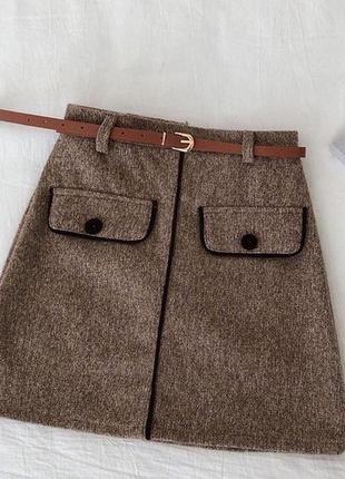 Короткая юбка фетр коричневая пояс в комплекте м-42,л-44