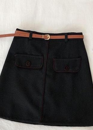 Короткая юбка фетр черная пояс в комплекте м-42,л-44