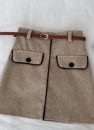 Короткая юбка фетр бежевая пояс в комплекте м-42,л-44