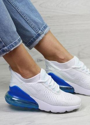 7816 nike air max 270  білі із синім  кроссовки женские найк аир макс