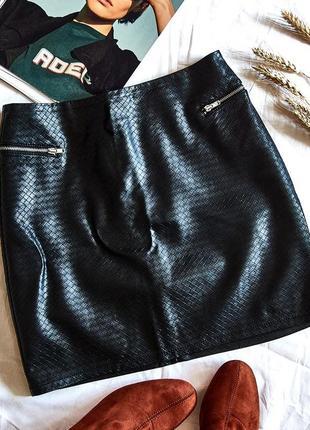 Кожаная короткая юбка, черная кожанная юбка, шкіряна спідниця, чорна коротка спідниця