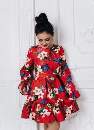 Оригинальное платье мини в цветочный принт 🖤