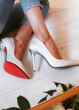 Женские серебристые туфли-лодочки/лодочки/женские туфли лодочки/серебристые лодочки