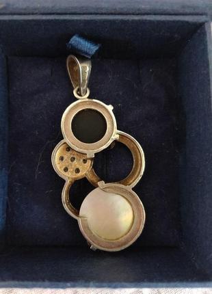 Массивный подвес серебро, золото, керамика, перламутр4 фото