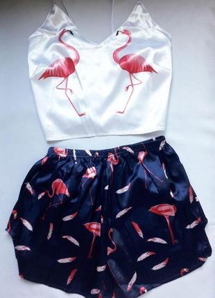 Женская пижама комплект топ и шортики