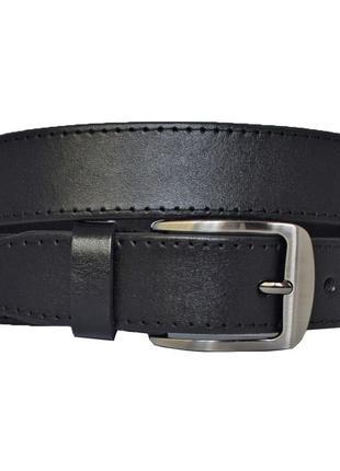 Ремень женский кожаный черный прошитый в джинсы anita