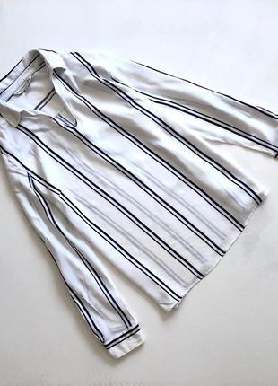 Качественная стильная вискозная рубашка белая в полоску