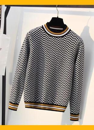 Крутой вязанный трикотажный свитер джемпер реглан полосатый