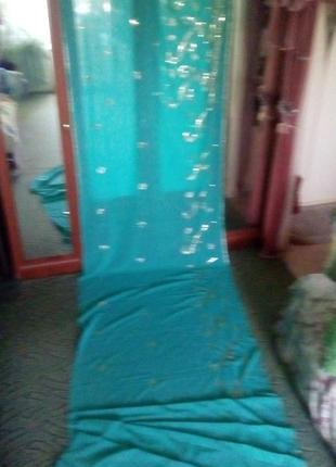 Роскошный шифоновый платок почти 6 метров  расшит холотом/платок/шарф/палантин/штора/сари