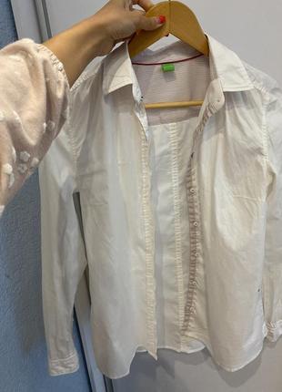 Белая блуза рубашка хлопковая hugo boss