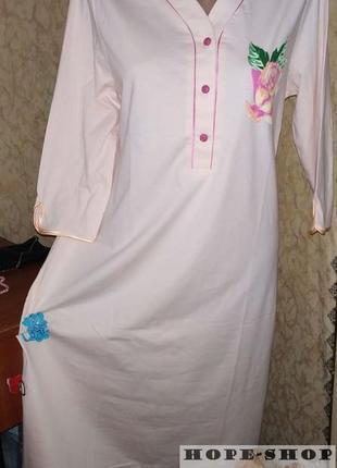 Домашнее кремовое платье -футболка,ночная рубашка,сорочка 42/50