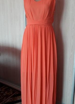 Вечерний нарядный шифоновый сарафан платье с юбкой  плиссе