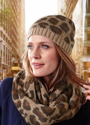Комплект шапка+снуд в леопардовый принт  tcm tchibo