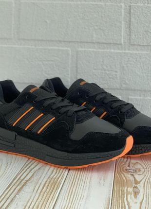 3122 adidas zx 500 черные с оранжевим кроссовки адидас