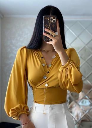 Классическая блуза / нарядная блузка / блузка с широким рукавом / шелковая блузка