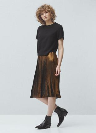 Шифоновая юбка-плиссе с золотым напылением вечерняя, нарядная