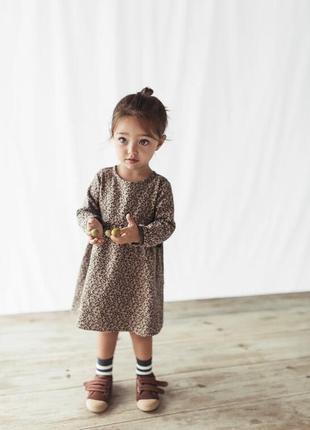 Тёплое платье на малышку в леопардовый принт