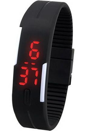 Спортивные силиконовые led часы черного цвета, электронные, браслет
