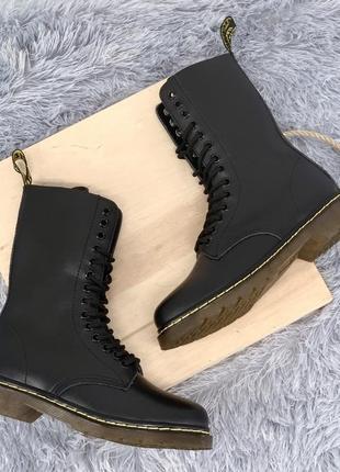 Ботинки dr. martens 1914 black fur черевики
