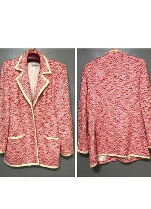 Renzo дизайнерский винтажные пиджак шерстяной букле розовый красный