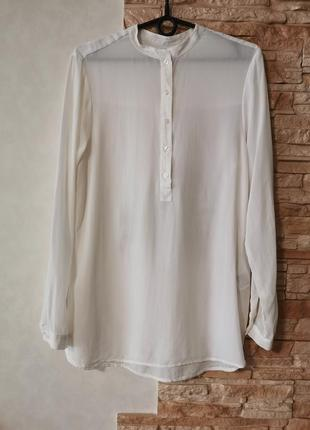 Белоснежная шёлковая блузка, рубашка