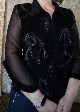 Полупрозрачные  прозрачные рукава, черная блузка , отложной воротник