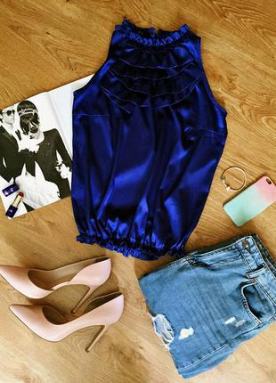 Модная атласная блузка trg, размер s/m