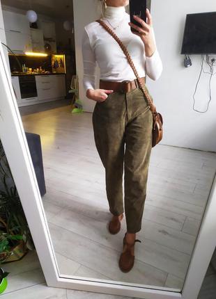 Высокие кожаные штаны. натуральный замш кожа.